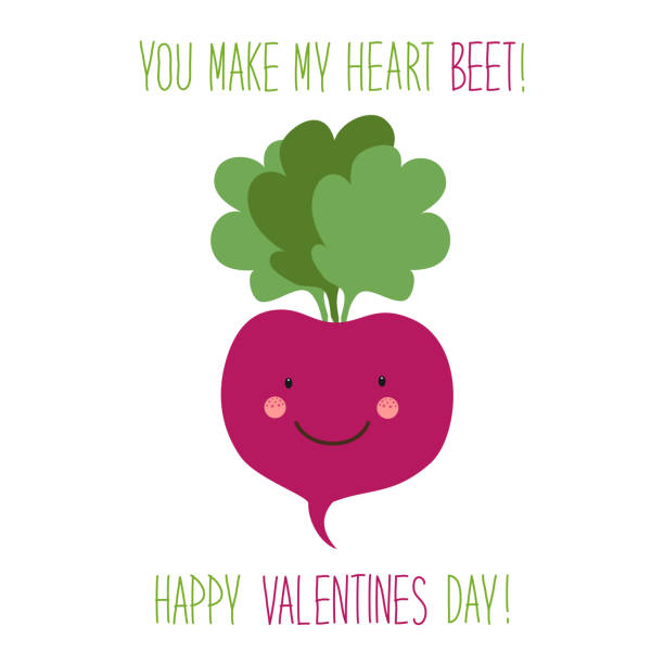 Cute unusual hand drawn Valentines Day card with funny cartoon characters of beet vector art illustration
