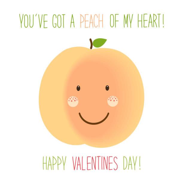 illustrazioni stock, clip art, cartoni animati e icone di tendenza di cute unusual hand drawn valentines day card with funny cartoon characters of peach - pesche bambino