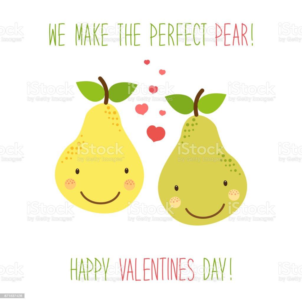 Niedliche handgezeichneten ungewöhnlichen Valentinstag Karte mit lustigen Comic-Figuren von pear – Vektorgrafik