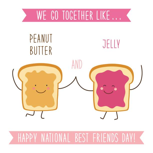 Cute unusual National Best Friends Day card as funny hand drawn cartoon characters and hand written text Cute unusual National Best Friends Day card as funny hand drawn cartoon characters and hand written text We Go Together like Peanut Butter and Jelly jello stock illustrations
