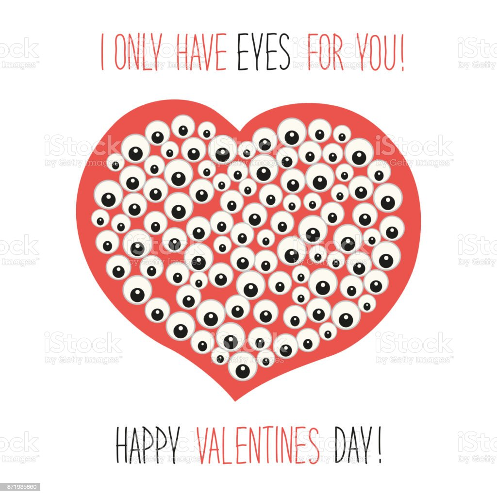 Niedliche Ungewöhnliche Valentinstag Karte Mit Lustigen Cartoon Figur Des  Herzens Mit Vielen Augen Und