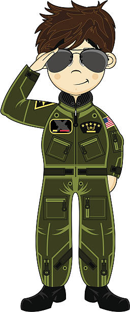 Cute USAF Pilot wearing Sunglasses Vector illustration of a saluting USAF pilot in flight suit and Aviator style sunglasses.  flight suit stock illustrations