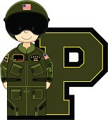 Cute USAF Style Pilot Learning Letter P