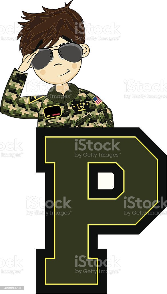 Cute USAF Style Pilot Learning Letter P royalty-free cute usaf style pilot learning letter p stock vector art & more images of adult