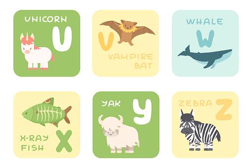 Cute U-Z alphabet cards with cartoon rainforest sea ocean African animals. Vector zoo illustrations. Unicorn, vampire bat, whale, x-ray fish, yak, zebra animals, flat style
