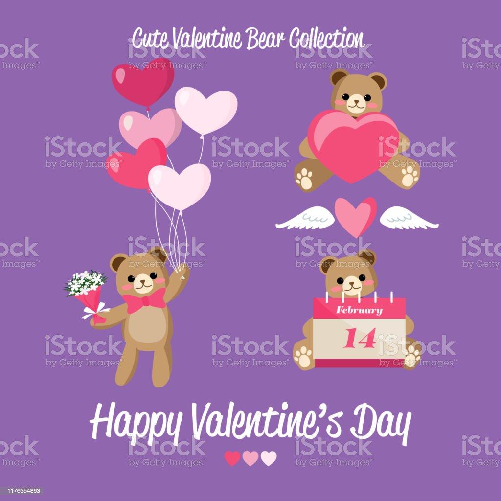 Cute valentine bear collection of cute bear with calendar February...