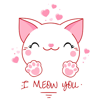 Cute Valentine card in kawaii style. Kawaii cats with pink hearts