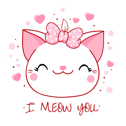 Cute Valentine card in kawaii style. Lovely cat with pink bow and hearts