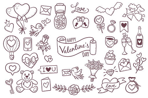 Cute Valentine day doodle elements