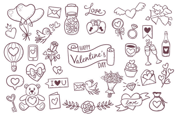 Cute Valentine day doodle elements Set of cute hand drawn elements about love. Design elements isolated on white. Happy Valentine's Day background. EPS 10 vector illustration. animal valentine stock illustrations