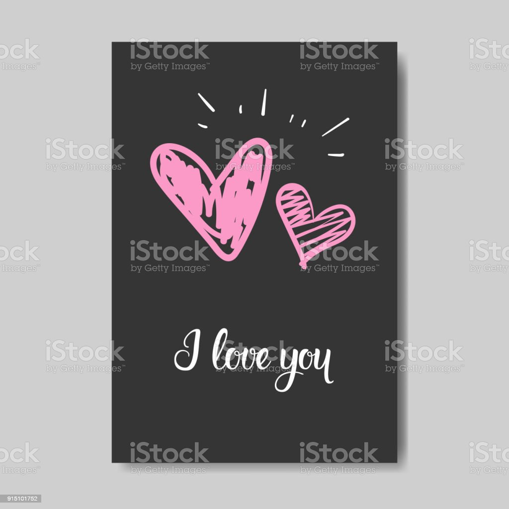 Cute Valentine Day Greeting Card Design Sketch Love Postcard Stock