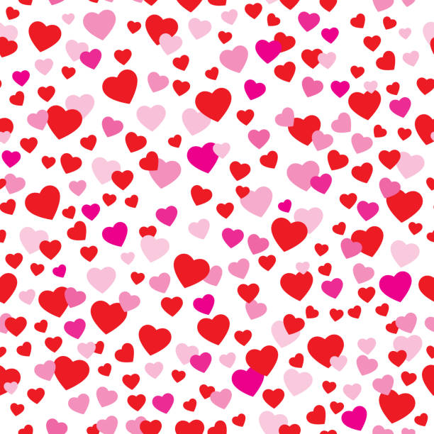 Cute Valentine Hearts Seamless Pattern Vector seamless pattern of cute red and pink hearts on a white background. anniversary patterns stock illustrations