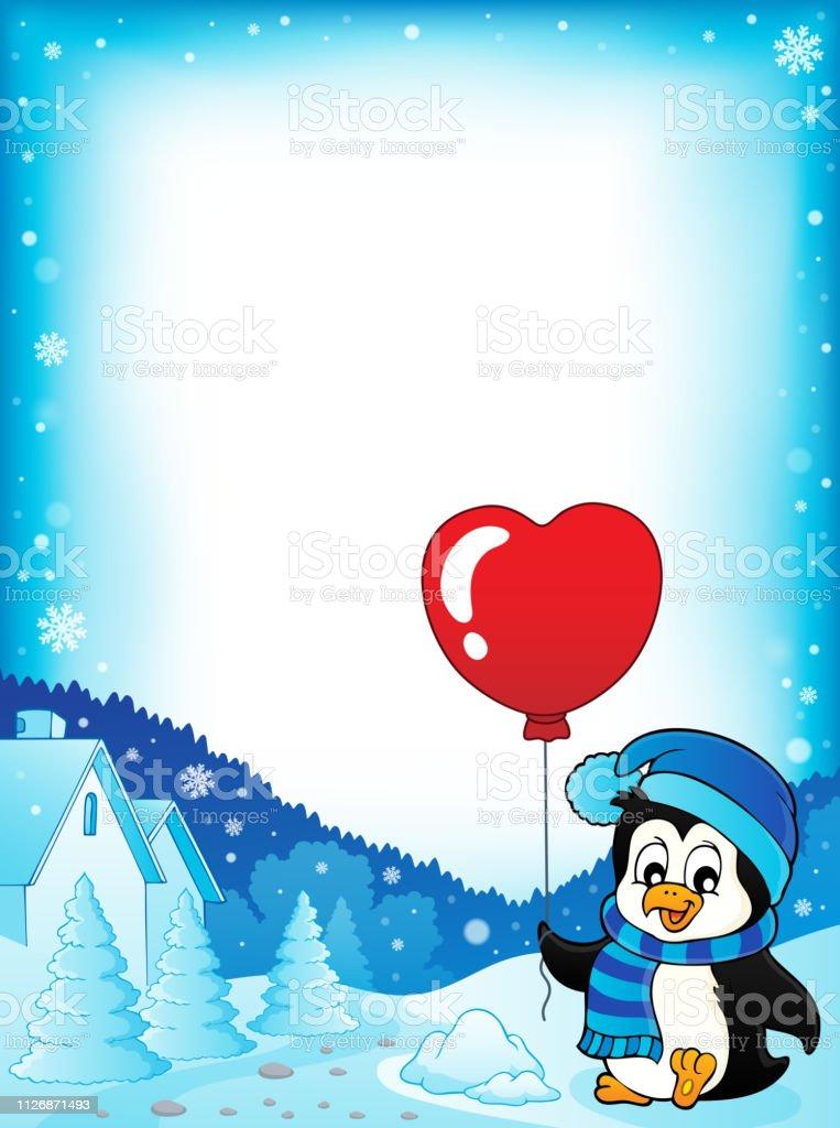 Cute Valentine Penguin Theme Frame 1 Stock Illustration