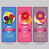 cute valentine vertical banner with buttercup flower elements