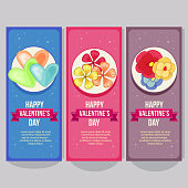 cute valentine vertical banner with floral flower theme