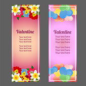 cute valentine vertical banner with heart shape and flower