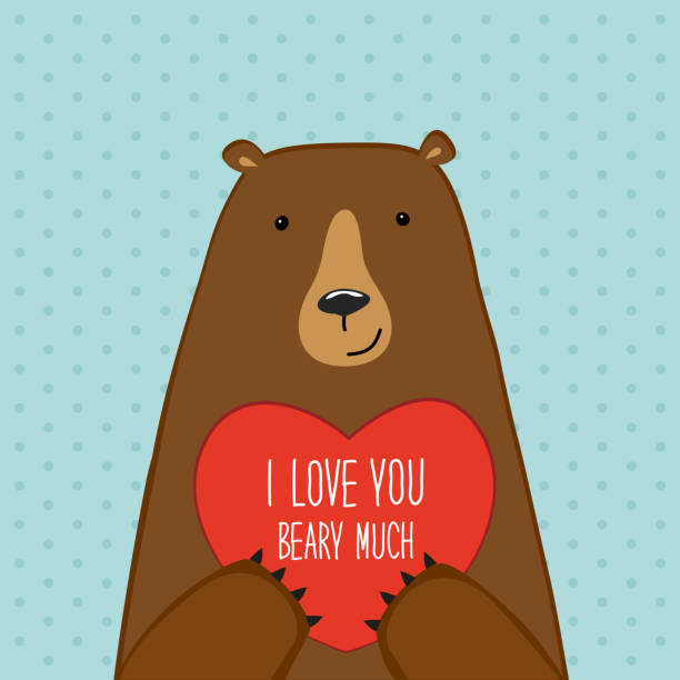 Cute Valentine's Day card with Bear Cute Valentine's Day card with Bear, can be used as card, banner etc animal valentine stock illustrations