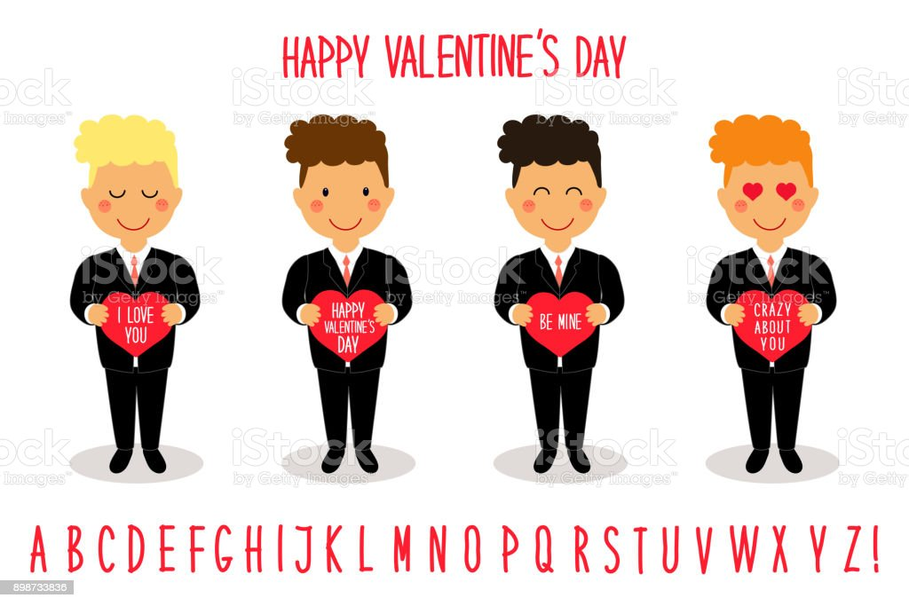 Cute Valentines Day Cartoon Characters Of Loving Boys With Heart In