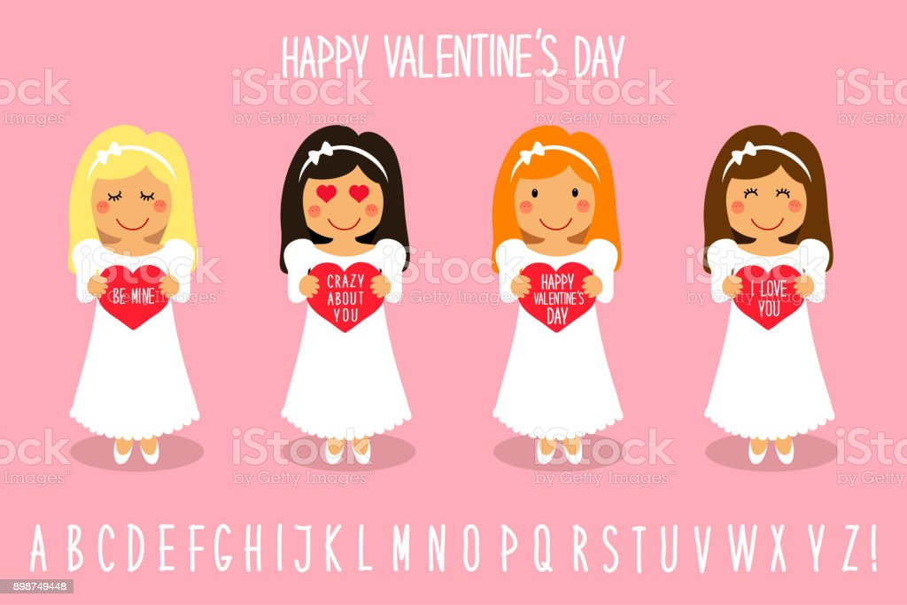 Cute Valentines Day Cartoon Characters Of Loving Girls With Heart ...