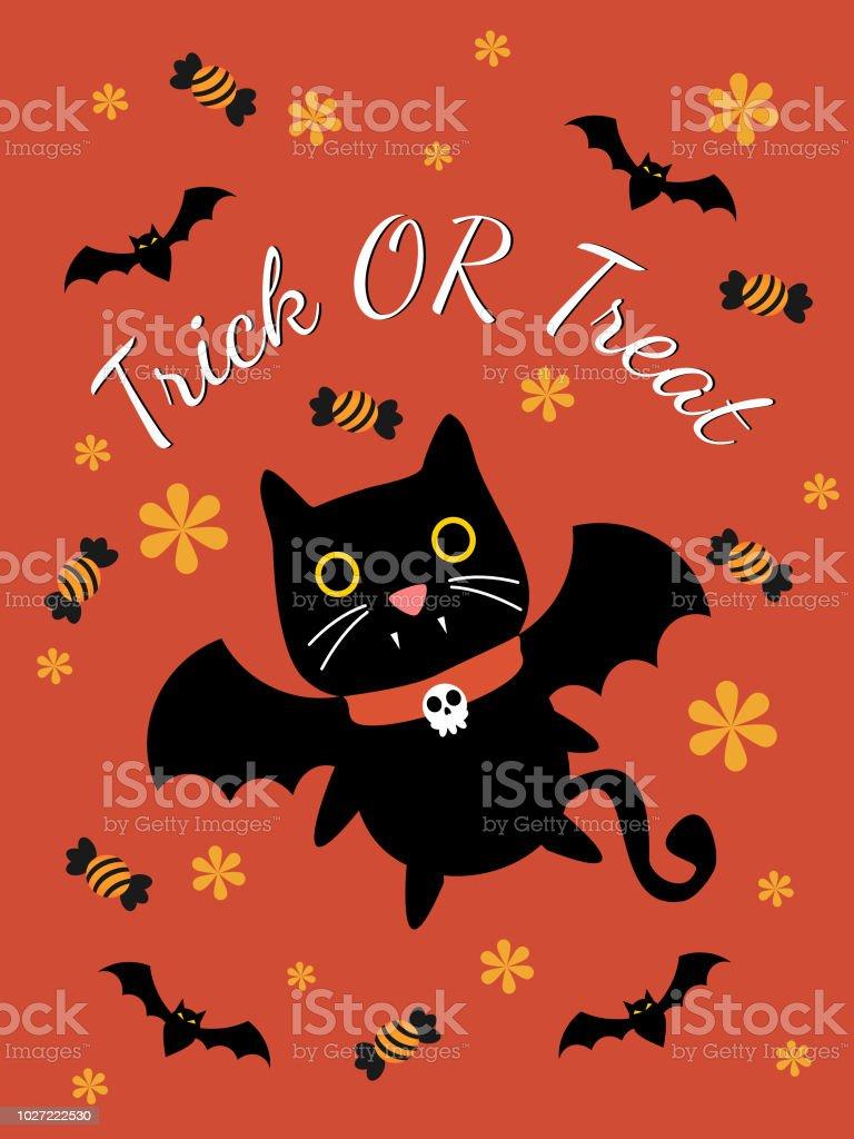 Cute Vampire Cat For Halloween Greeting Card Stock Vector Art More
