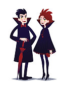 Young man in style of Vampire with umbrella and redhead Vampire girl with red flower. Vector illustration of Cute Vampire Couple Boy and Girl in flat cartoon style on a white background. Element for your design, prints and greeting card.