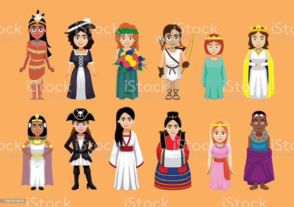 Vetores De Bonito Varios Personagem De Desenho Animado Princesa