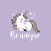 Cute vector baby unicorns with stars and text.