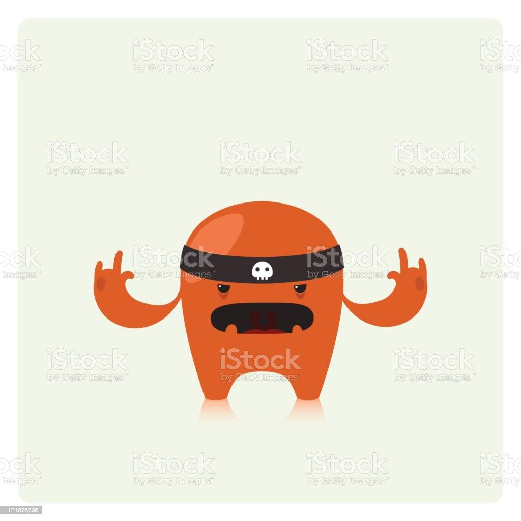 Cute Vector Badass Character Making Horns Hand Gesture royalty-free stock vector art