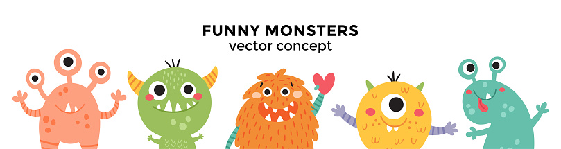 cute vector banner with monsters in a row