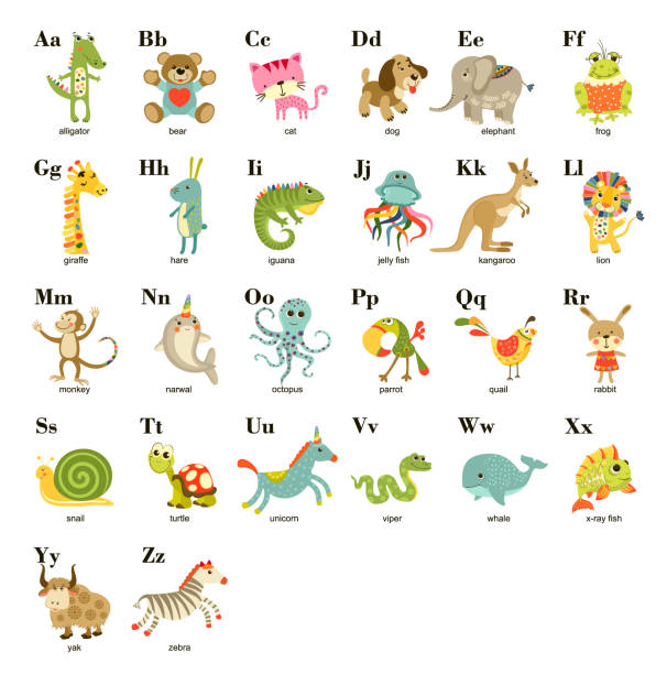 Cute vector cartoon baby animals alphabet on white background. Vector illustration for kids education,  language study. Children pattern with animals and letters. vector art illustration