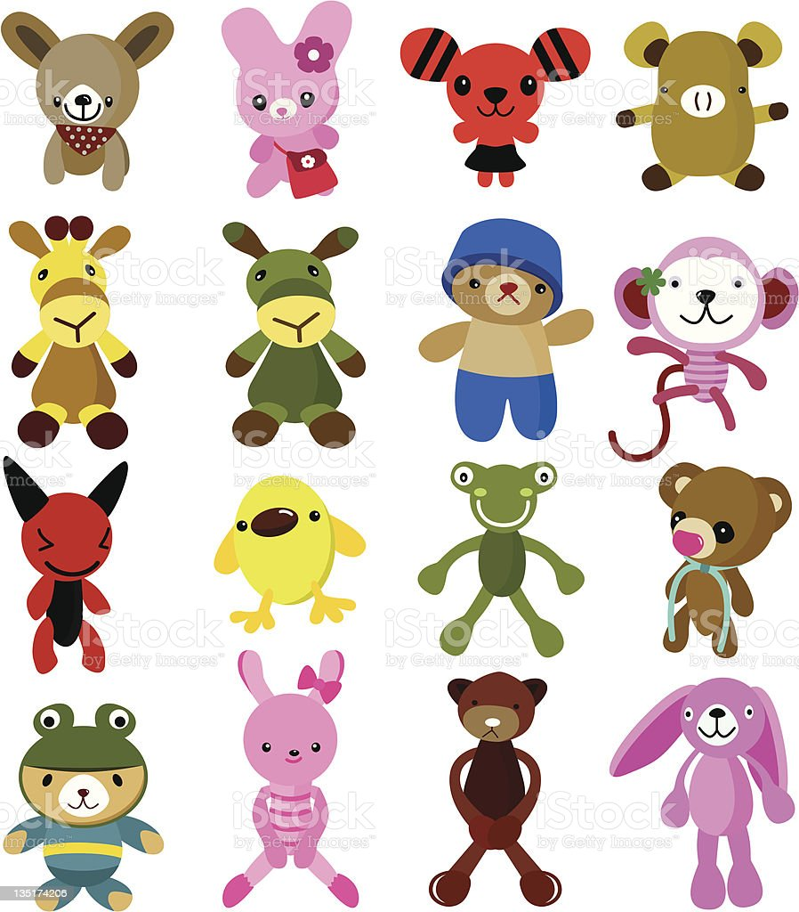 Cute vector Cartoon Characters - dog,rabbit,giraffe,bear,monkey - Royalty-free Animal stock vector