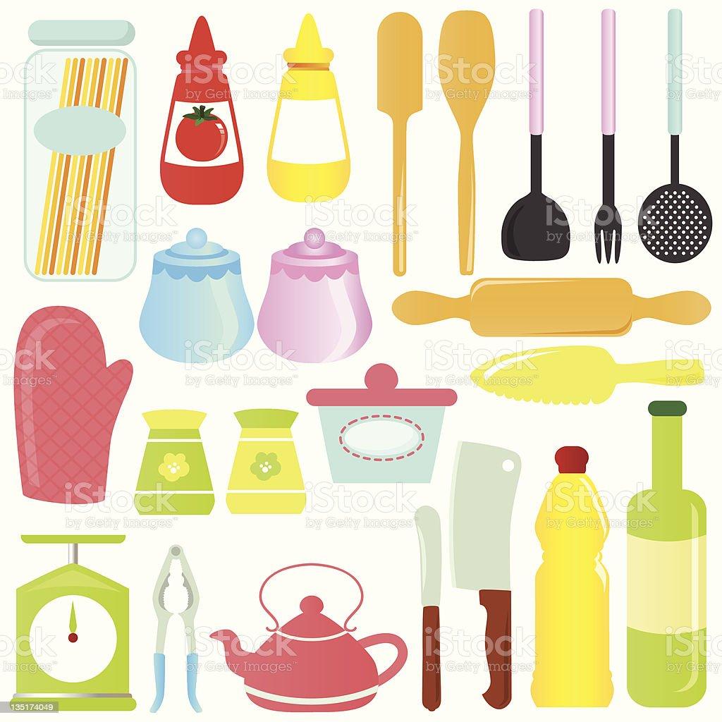 Linda vector de dibujos animados utensilios de cocina for Dibujos de cocina