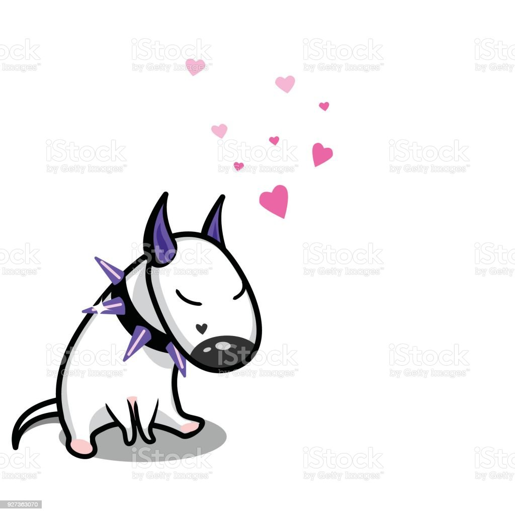 Cute vector cartoon dog. White Bull Terrier in love. - Royalty-free Animal stock vector