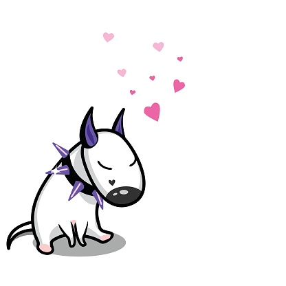 Cute Vector Cartoon Dog White Bull Terrier In Love Stock Illustration - Download Image Now
