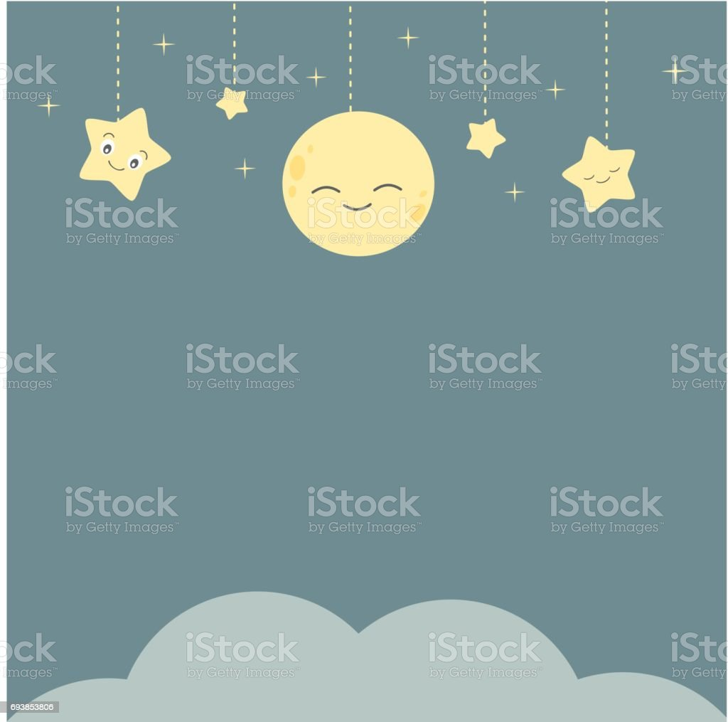 cute vector cartoon night background with stars moon and cloud vector art illustration