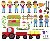 Cute Vector Collection of Farm Related Items and Farmers
