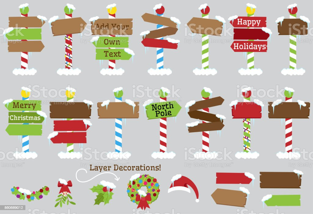 Christmas Arrow Signs.Cute Vector Collection Of North Pole Signs Or Christmas And