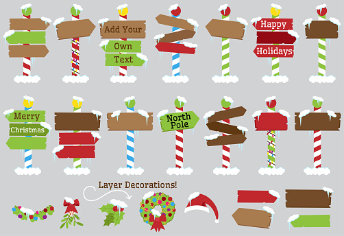 Cute Vector Collection of North Pole Signs or Christmas and Winter Themed Signs clipart