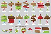 Cute Vector Collection of North Pole Signs or Christmas and Winter Themed Signs. No gradients or transparencies used. Large JPG included.