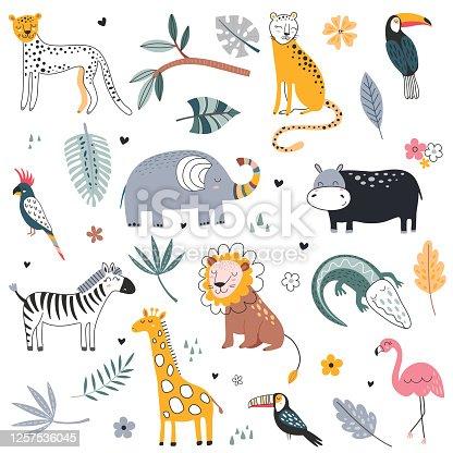 istock Cute vector collection of safari animals, elephant, dangerous alligator, wild cat, lion, flamingo, giraffe and tropical plants. 1257536045