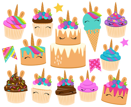 Cute Vector Collection of Unicorn Themed Desserts and Birthday Decorations