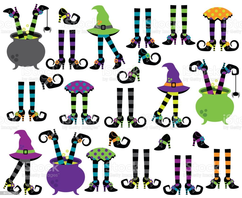 cute vector collection of witches feet legs and shoes stock vector