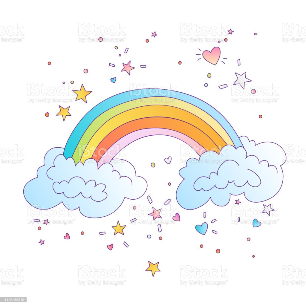 Cute vector Colored Rainbow With Clouds and decorative stars and...