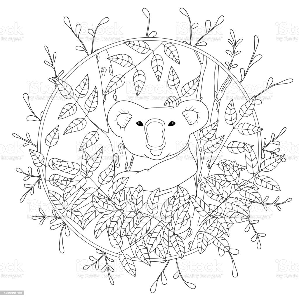 Cute Vector Coloring Page With Koala Climbing On The Eucalyptus Tree ...