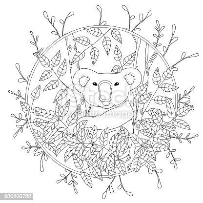 Ilustración de Lindo Vector Página Para Colorear Con Koala Trepando ...