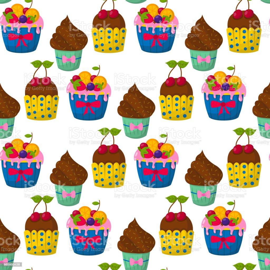 Niedliche Vektor Cupcakes Und Muffins Schokolade Musterdesign Feier
