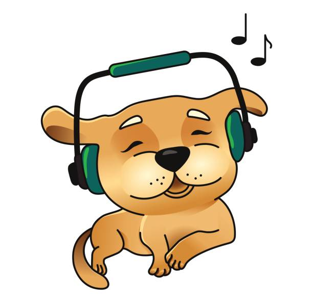 Royalty Free Dog Listening To Music Clip Art, Vector ...
