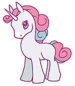 Cute vector drawing of a white cartoon unicorn with fluffy pink mane, suitable for children designs