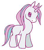 Cute vector drawing of a white cartoon unicorn with violet and light blue  mane, suitable for children designs