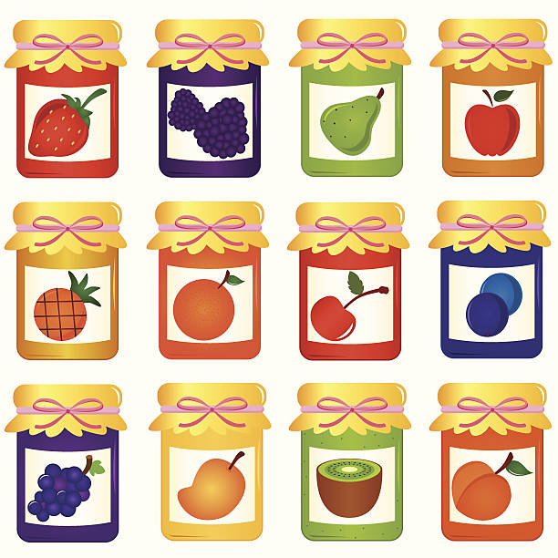 niedliche vektor-elemente: flaschen hausgemachte jam (jelly), nahtlose hintergrund - nektarinenmarmelade stock-grafiken, -clipart, -cartoons und -symbole